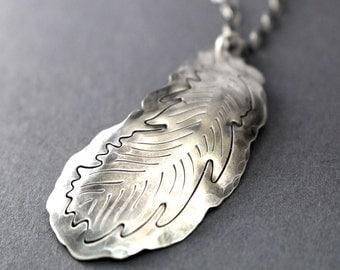 Silver Feather Necklace, Boho Feather, Boho Necklace, Hipster Necklace, Sterling Silver Feather Charm, Charm Necklace, Feather Necklace, 925
