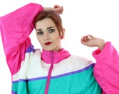 90s Colorblocked Windbreaker Jacket 80s Vintage 1980s 1990s Colorblock Workout Running Surf Exercise Unisex Mens Womens Large XL Plus 2X