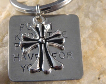 For I Know the Plans I Have for You Fleur Di Lis Cross Keychain