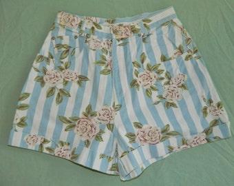 W 28/29 Daisy Dukes 80s Floral Denim High Waist Shorts Get! Light Blue Stripes with Roses Daisy Dukes