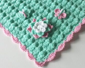 Crochet Baby Blanket, Handmade Baby Blanket, Baby Boy Blanket,Baby Girl Blanket,Mint,Cape Cod Blue  Colors