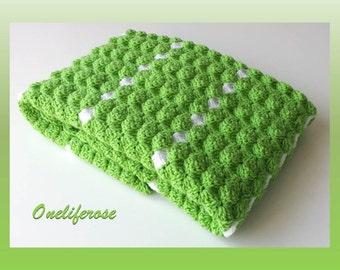 Crochet Baby Blanket, Handmade Baby Blanket, Baby Boy Blanket,Baby Girl Blanket,Applegreen-White  Colors