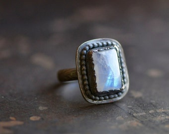 blue moonstone rectangular rainbow ring, antiqued sterling silver, size 8.5, in stock and ready to go