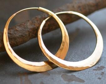 Solid 14k gold hoop, endless style hoop earring medium, 1 1/4 inch hoop, wide, thick round hoop, eco friendly jewelry