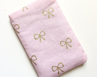 Pill Case Birth Control Cozy - Tiny Gold Bows on Pink