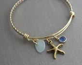 starfish gold plated stainless steel adjustable twisted braid bangle bracelet with genuine sea glass, and Swarovski crystal birthstone,