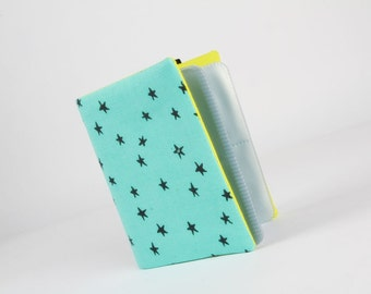 Big fabric card holder -  Starry in seaglass / 40 slots / Cotton and Steel / Alexia Marcelle Abegg / Print shop / Grey lime blue