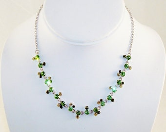Signed VCLM Green Olive Austrian Crystals Necklace Earrings Set