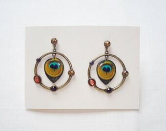 Brass Tone Peacock Hoop Dangle Earrings