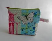 zippered pouch - crochet knitting notions project bag - French print - knitting accessories supplies