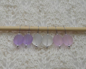 Sea Glass Knitting Stitch Markers - snag free - 12mm beach glass - lavender pink crystal beads - set of 6 - three loop sizes available