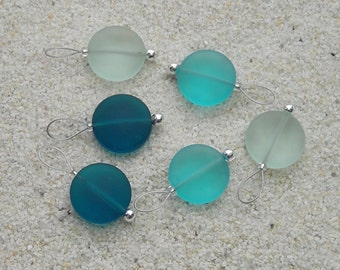 Sea Glass Knitting Stitch Markers - snag free - 15mm teal turquoise green sea glass beach glass beads - set of 6 - two loop sizes available