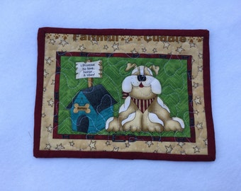 Quilted Mug Rug, Dog Mug Rug, Rescue Dog Snack Mat, Quilted Mini Placemat