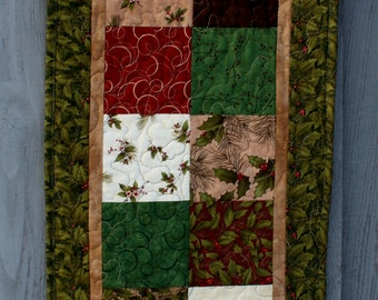 Quilted Christmas Table Runner, Winter Song Table Runner, Holly Runner, Christmas Table Runner Quilted