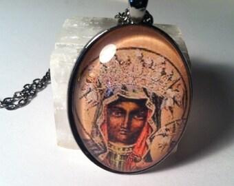 Black Madonna Glass Pendant Necklace