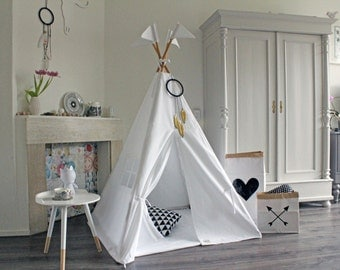 White Teepee, Tipi, Play Tent, MIDI size teepee, Pure White teepee,  Play tipi, Nursery teepee Tent, Kids Tipi, Wigwam, Indoor Play tent
