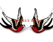 Swallow Necklace Tattoo inspired by Dolly Cool Sparrow Twin Two Love Birds Black & Red Rockabilly 50s