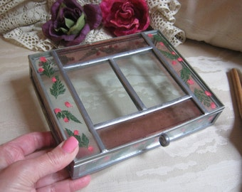 Vintage leaded glass jewelry box, tinted pink clear glass trinket box, pressed flowers leaded glass jewel box, leaded glass display box