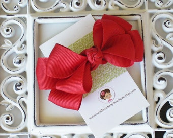 NEW ITEM----Boutique Double Medium Hair Bow Clip---Red