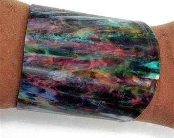 Vinyl Record Album Wrist Cuff Rare Marble Colored Black, Red, Yellow, Blue, Green, White Size Small