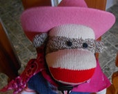 Hand Made Sock Monkey Cowgirl OR BOY Original Classic New Dressed Will Personalize