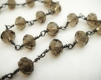 Smoky Topaz Rosary Chain, Black Rodium Plated, 8mm Wire Wrapped Beads, 3 ft,  Brides, Wholesale Chain