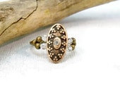 Copper Stretch Band Ring, Copper Bronze Ring, Copper Cocktail Ring, Elastic Band Ring, Rhinestone Ring, Stretchy Ring