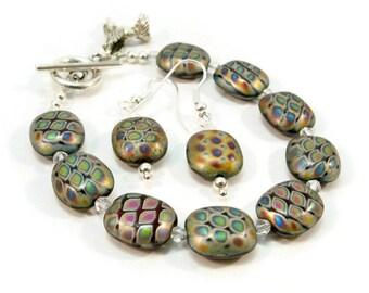 Single Strand Women's Beaded Bracelet and Earrings, Czech Glass Beads and Crystals, Hummingbird Charm, Minimalist Bracelet