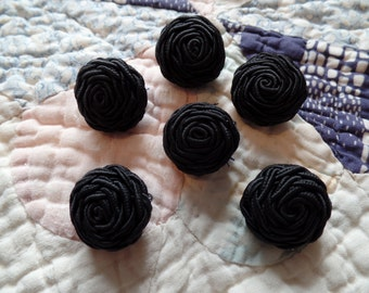 Vintage Black Fabric Rose Buttons