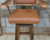 """YOUR Custom Reclaimed Swivel Upholstered Barn Wood 18""""-36"""" Top Bar Stool with Backs and Arms and Paint or Stain - FREE SHIPPING - SBSSUBC188"""