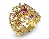 CORAL Pink Tourmaline Ring, Gold Tourmaline Ring, Gold Amethyst Ring, Gold Tourmaline Engagement Ring, Gold Gemstone Ring
