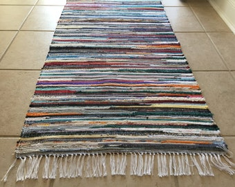 Handwoven Dark Multi Rag Rug 25 x 74