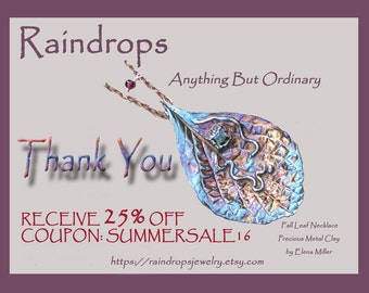 SUMMER SALE.  25% discount on all  handcrafted gemstone jewelry purchase. Coupon code: SUMMERSALE16.