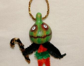 Halloween Folk Art Gourd Ornament OOAK Spooky Haunted Halloween Ornaments  Light Weight (A 20)