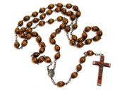 Vintage Rosary Beads, Wood Rosary Beads