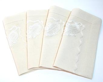 Set of Four Vintage Embellished Napkins
