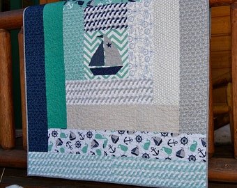 Quilt Baby Toddler Nautical Treasures Log Cabin Blue Aqua Grey Sailboats Anchors Whales children Nursery bedding cot Ellen Crimini Trent