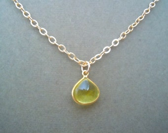 Oro Verde Quartz and Gold Cable Chain Necklace -- Perfect Pendant Collection