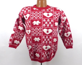Ugly Christmas Sweater Vintage Snowflakes Tacky Holiday Party Kids's size L 14- 16