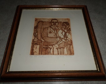Father & Son sienna wood lino cut block print framed signed numbered 4/10 1971 Cynthia Leven