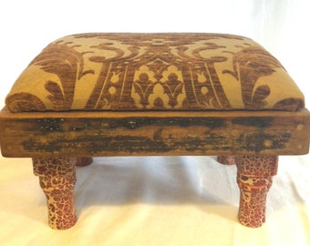 Handmade Reclaimed Vintage Wood Velvet Brocade Foot Stool by Barneche/Stephanie Barnes