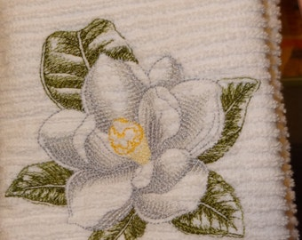 Kitchen Towel with Embroidered Magnolia