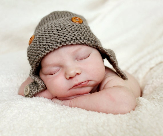 Knitting Pattern For Baby Pilot Hat : Aviator Hat Knitting Pattern PDF Knitting Pattern Baby