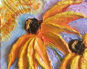 Blackeyed Susan 6x6 Inch deep Original Impasto Oil Painting by Paris Wyatt Llanso