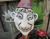 Clay pottery handbuilt gnome pot decoration pothead