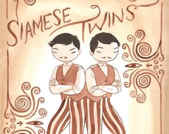 Siamese Twins - original walnut ink painting
