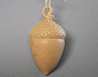 Acorn ornament, ceramic, one of a kind