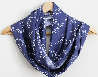 Songbird Organic Cotton Infinity Scarf - Great Gift - 100% Organic Cotton - Blue or Tan - Eco Fashion Accessory