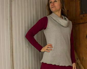 Stella Hemp Cowl Shell - Hemp and Organic Cotton Fleece or French Terry - Eco Fashion - Made to Order Choose Your Color