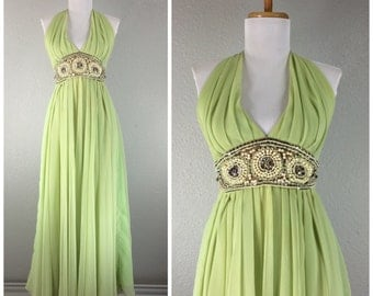 Vintage 1960s Jack Bryan green chiffon dress rhinestones pearls beads beaded gown dress